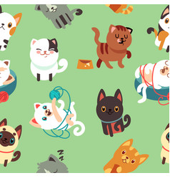 Cartoon cats kitten seamless background vector