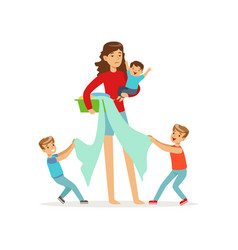 Cartoon of mother and three vector