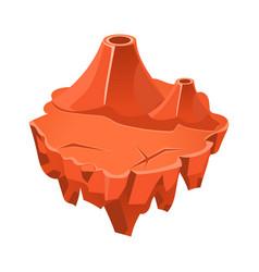 cartoon orange stone isometric island with lake vector image