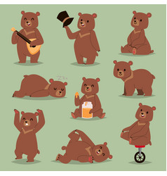 ccute cartoon bear emotions brown character vector image