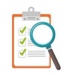 cheklist clipboard with magnifying glass vector image