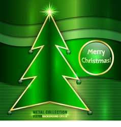 Christmas Card With Metallic Christmas Tree vector image