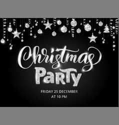 Christmas party poster template silver on black vector