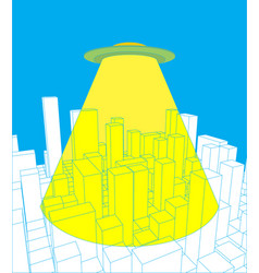 City and ufo abstract skyline and space invader vector