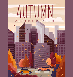 city scene in autumn with colorful orange leaves vector image