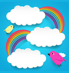 clouds and rainbow with cute birds vector image