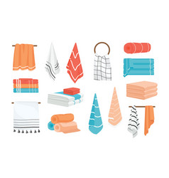 Collection of hand and bath fabric towels rolled vector