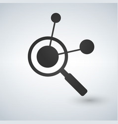 Connection search icon magnifying glass molecular vector