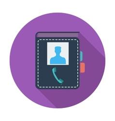 Contact book single icon vector image