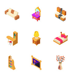 Cosy hall icons set isometric style vector
