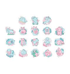 Cute cartoon baanimals sleeping set sweet vector