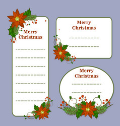cute christmas set with cards notes stickers vector image