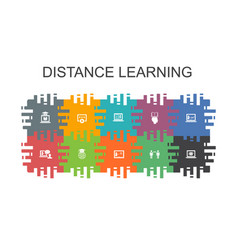 Distance learning cartoon template with flat vector