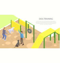 Dog training concept banner isometric style vector