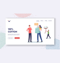 Ecological natural clothes landing page template vector