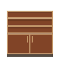 Empty furniture closet or wardrobe in brown color vector