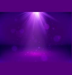 empty purple studio and spotlight bright shiny vector image