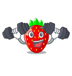 Fitness character strawberry sweet in store fruit vector