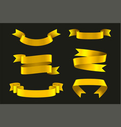 gold ribbons set festive decoration element vector image