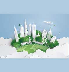 green city on the sky vector image