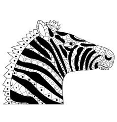 Head zebra coloring for adults vector