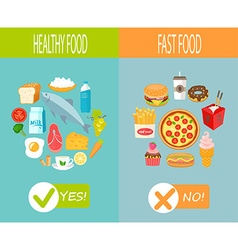 Healthy food and fast food vector image