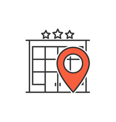 hotel location line icon vector image