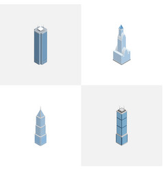 Isometric building set of skyscraper apartment vector
