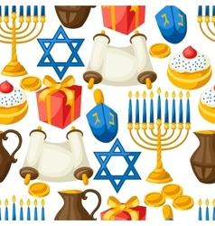Jewish Hanukkah celebration seamless pattern with vector image