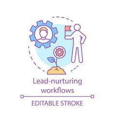 Lead-nurturing workflows concept icon marketing vector