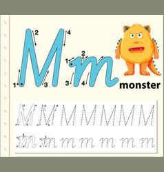 letter m tracing alphabet worksheets vector image