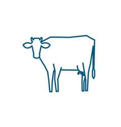 Line silhouette of standing cow vector