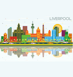 Liverpool uk city skyline with color buildings vector