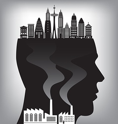 Man Silo City Buildings vector image
