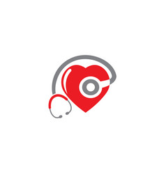 Medical stethoscope icon in shape a heart vector