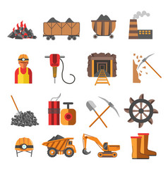 Mining industry coal mine equipment and machines vector