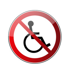 no disabled sign forbidden red road sign isolated vector image