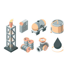 oil isometric production set derrick with fire vector image