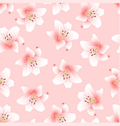 Pink lily on light pink background vector