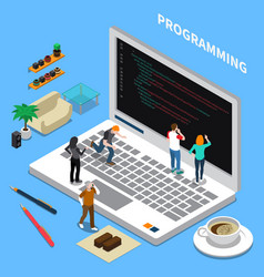 Programming miniature isometric concept vector