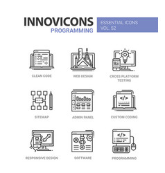 Programming - modern line design icons set vector