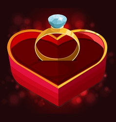 Red heart box with ring vector
