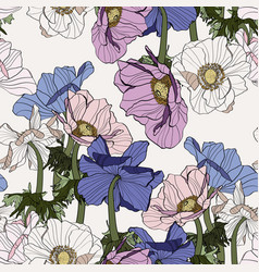 Seamless pattern line colored vintage flowers vector