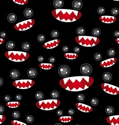 Seamless pattern Monsters eyes and toothy mouth on vector image