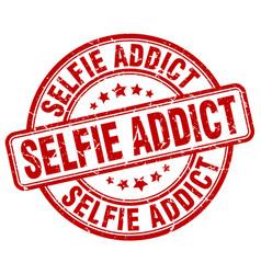 selfie addict red grunge stamp vector image