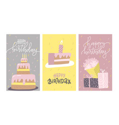 set birthday greeting cards design with hand vector image