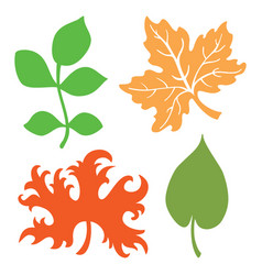 Set leaf silhouettes vector