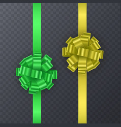set of gift ribbons with realistic bow of green vector image