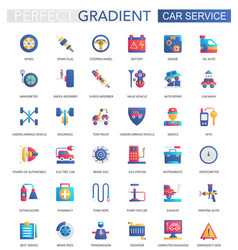 set of trendy flat gradient car service vector image