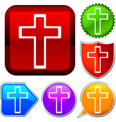 Set shiny icon series on buttons cross vector